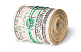 Roll Of One Hundred Dollar Bills Lying Horizontally