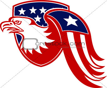 American Eagle Stars and Stripes Flag Shield Retro
