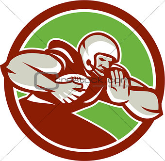 American Football Player Rushing Fending Circle Retro