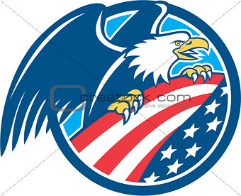 American Bald Eagle Clutching USA Flag Circle Retro