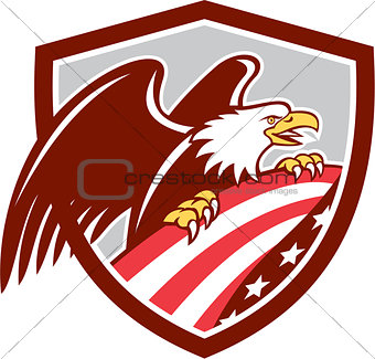 American Bald Eagle Clutching USA Flag Shield Retro