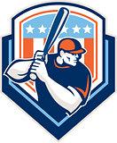 American Baseball Batter Hitter Shield Retro