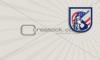 Business card American Patriot Holding USA Flag Look Up Crest