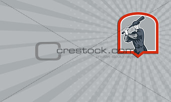 Business card Baseball Batter Batting Woodcut Shield