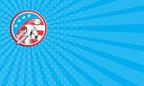 Business card Baseball Pitcher Outfielder Throwing Ball Circle Cartoon