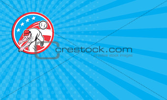 Business card Baseball Pitcher Outfielder Throwing Ball Circle Cartoon