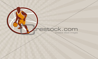 Business card Basketball Player Dribbling Ball Oval Retro