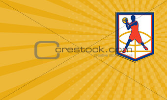 Business card Basketball Player Passing Ball Shield Retro