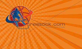 Business card Basketball Player Dribbling Ball Woodcut Retro
