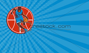 Business card Basketball Player Dribble Ball Front Retro