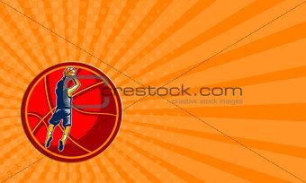 Business card Basketball Player Jump Shot Ball Woodcut retro