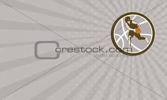 Business card Basketball Player Dribbling Ball Circle Retro