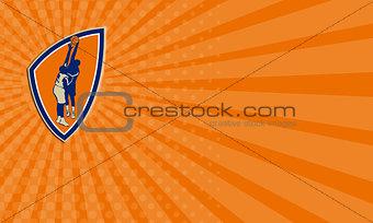 Business card Basketball Player Dunk Block Ball Shield Retro