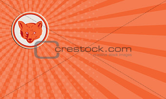 Business card Red Fox Head Front Circle Retro
