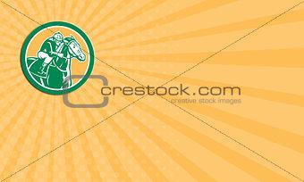 Business card Jockey Horse Racing Circle Retro