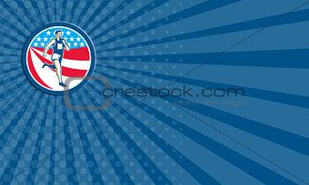 Business card American Marathon Runner Running Circle Retro