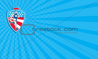 Business card American Marathon Runner Running Shield Retro