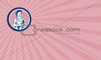 Business card Female Mechanic Spanner Circle Retro