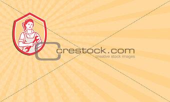 Business card Female Mechanic Spanner Shield Retro