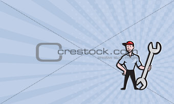 Business card Mechanic Hold Spanner Wrench Cartoon