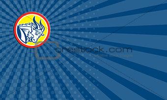 Business card Mountain Goat Ram Head Circle Retro