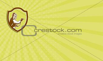 Business card Pest Control Exterminator Spraying Shield Retro