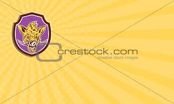 Business card Wild Boar Razorback Head Shield Retro