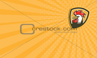 Business card Chicken Rooster Head Mascot Shield Retro
