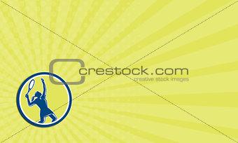 Business card Tennis Player Female Racquet Circle Retro