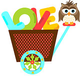Owl on a cart with love word letters