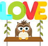 Owl on a swing with love word letters