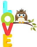 Owl on branch with love word letters