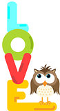 Owl with love word letters