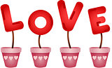 Red love letters in vases