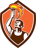 Athlete Player Raising Flaming Torch Shield Retro