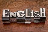 English word in metal type