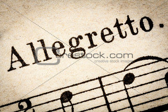 allegretto  - fast music tempo