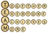 team acronym in typewriter keys