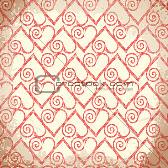 Old shabby background with hearts. Vector.