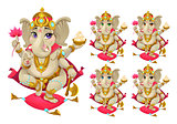 Ganesh in 5 different colors