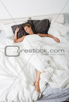 Sleeping woman from high angle view