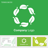 Natural green leaf company logo with business card design.