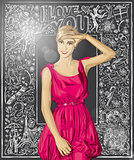 Vector Surprised Blonde in Pink Dress Against Love Background