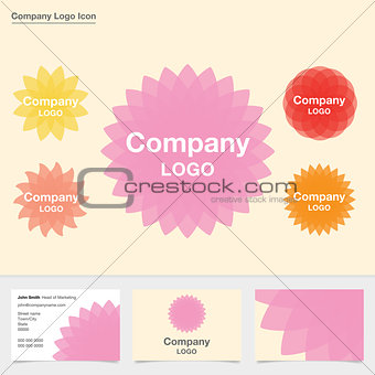 Five abstract flower company logo icons with business card design.