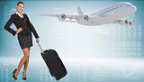 Businesswoman with suitcase. Image of flying airliner beside
