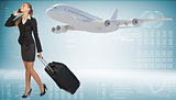 Businesswoman carrying suitcase while talking on the phone. Image of flying airliner beside