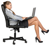 Businesswoman sitting back in office chair, with laptop on her knees