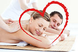 Composite image of affectionate couple having a back massage with closed eyes