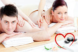 Composite image of loving young couple enjoying a back massage