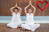Composite image of attractive couple in white sitting in lotus pose with hands together